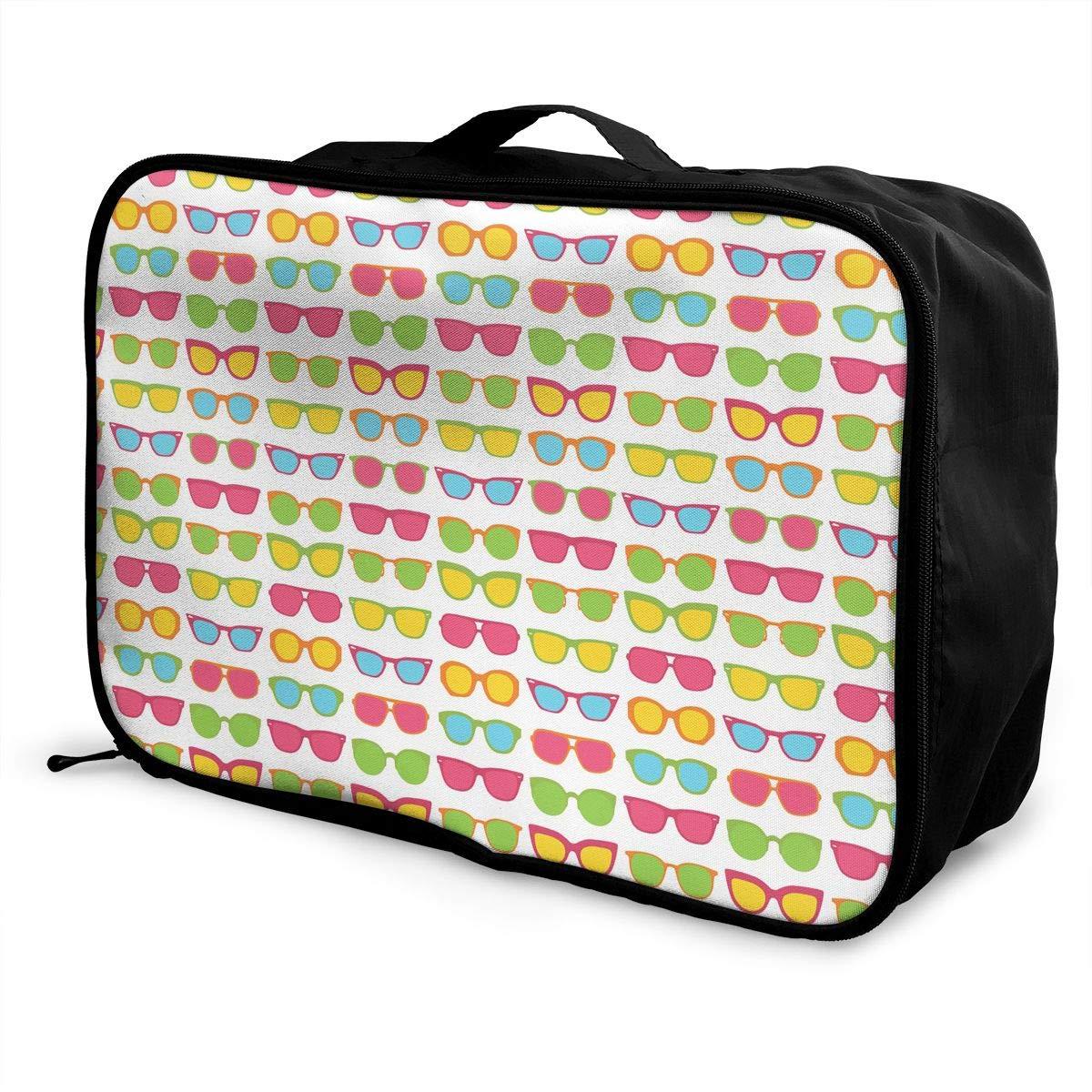 Travel Luggage Duffle Bag Lightweight Portable Handbag Sunglasses Pattern Large Capacity Waterproof Foldable Storage Tote