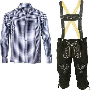 Traje tradicional bávaro para hombre, pantalón de piel con tirantes + camisa traje típico bávaro (pantalón + camisa) SLB02: Amazon.es: Ropa y accesorios