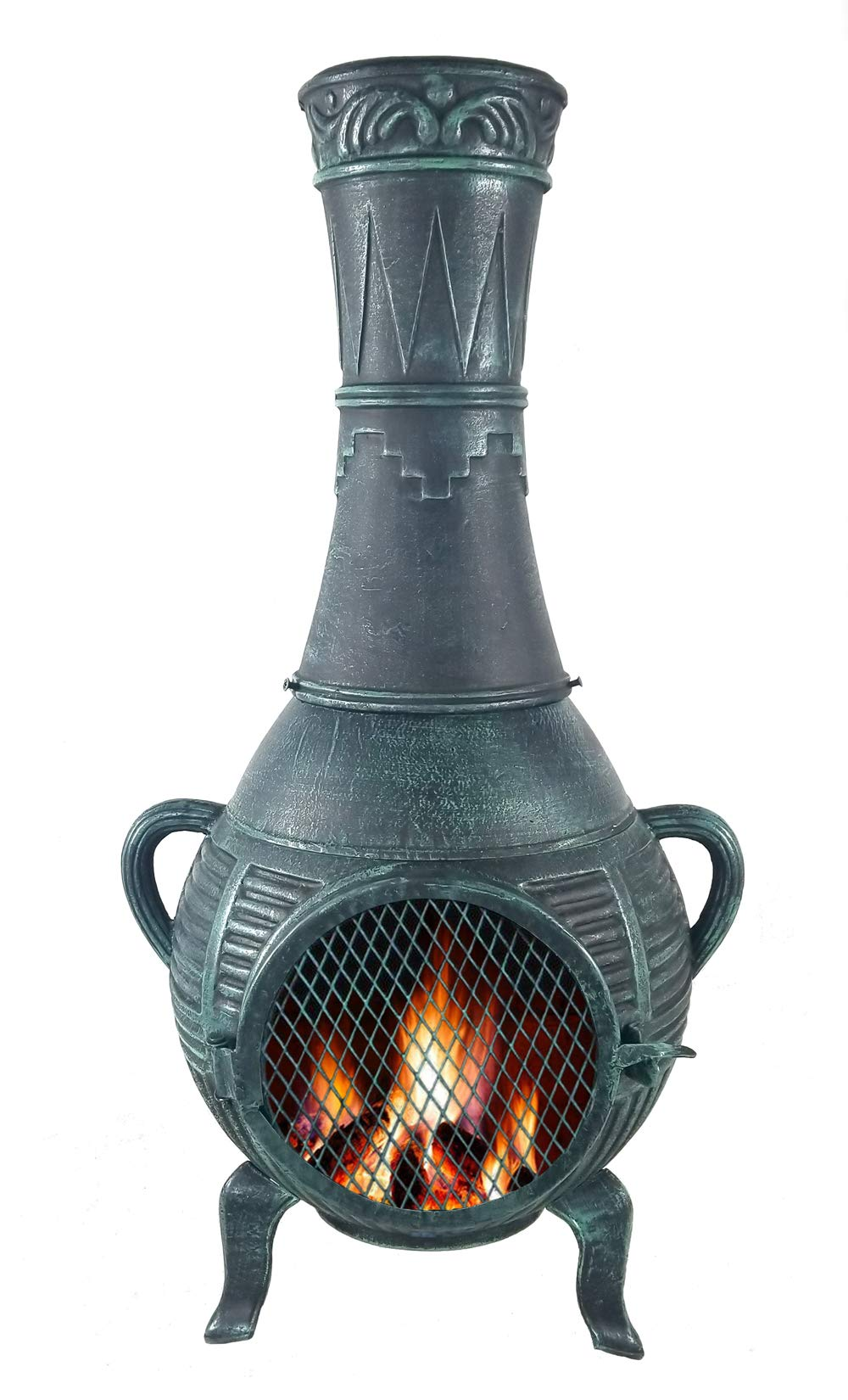 The Blue Rooster Company CAST Aluminum Pine Style Wood Burning Chiminea in Antique Green. by The Blue Rooster Company