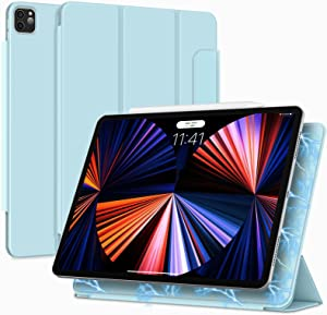 Bokeer Magnetic Case for iPad Pro 12.9 5th Gen 2021 / iPad Pro 12.9 2020 & 2018, Smart Magnetic Case Support Auto Sleep/Wake & Apple Pencil Charging, Lightweight Trifold Magnetic Cover