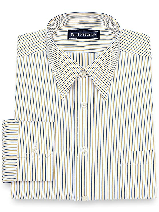 1920s Style Mens Shirts | Peaky Blinders Shirts and Collars Paul Fredrick Mens Cotton Fine Line Stripe Dress Shirt $32.98 AT vintagedancer.com