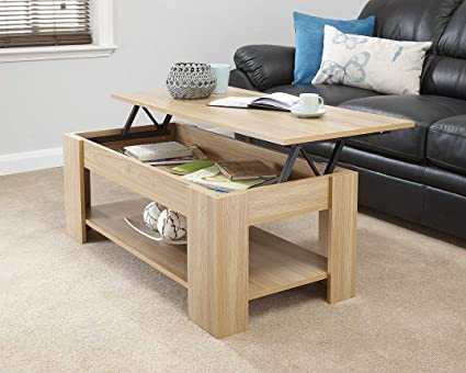 Enjoyable Spot On Dealz Oak Finish Wooden Lift Up Coffee Table Living Room Furniture Interior Design Ideas Philsoteloinfo