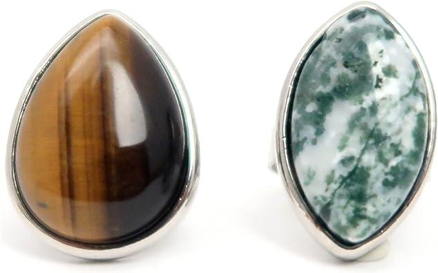 1 lot 8 bagues métal argenté pierre naturel divers couleur