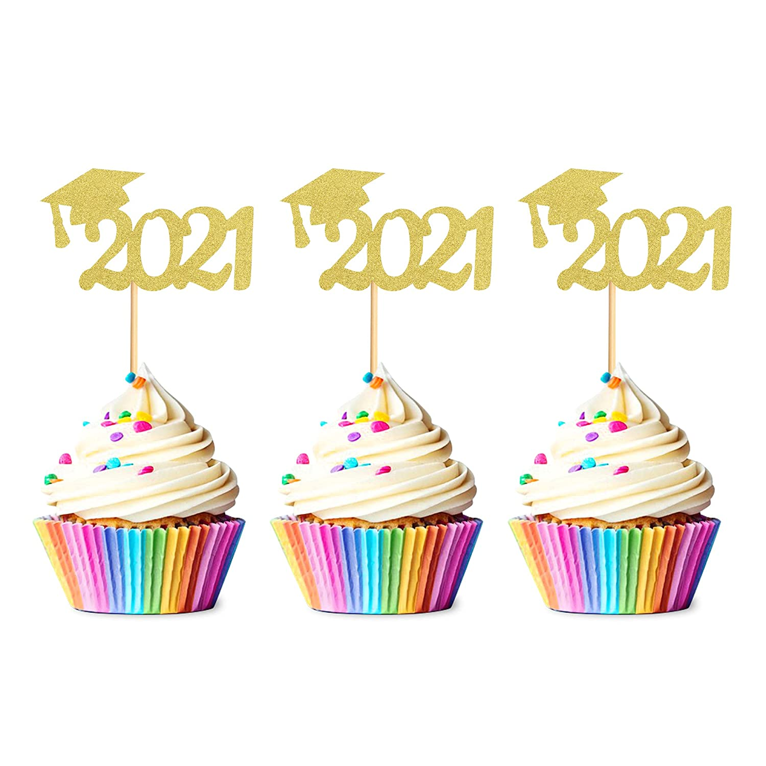 Unimall Pack of 48 2021 Grad Cap Graduation Cupcake Toppers, Gold Glitter Graduate Food/Appetizer Picks For Graduation Party Mini Cake Decorations