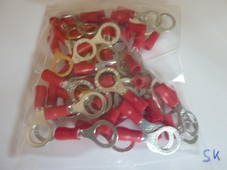 profitec 50 St/ück Kabelschuh Ring M 8 rot f/ür Kabel 0,5 mm/² 1,5 mm/²