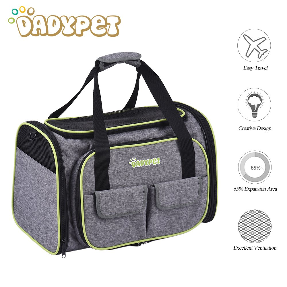 DADYPET Pet Carrier,Dog Carrier,Cat Carrier,Expandable Pet Carrier, Airline Approved Pet Carrier for Cat,Puppy Carrier 600D Material with Fleece Mat Easy Carry on Luggage with Pockets to Store Goods