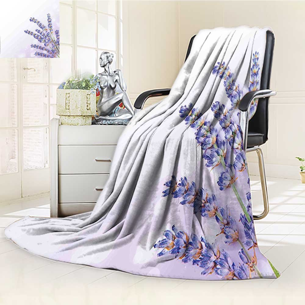 YOYI-HOME Throw Microfiber Duplex Printed Blanket of Medicinal Herb Fresh Plant of Purple Flower Spa Aromatheraphy Organic Lavander Anti-Static,2 Ply Thick,Hypoallergenic/W79 x H59