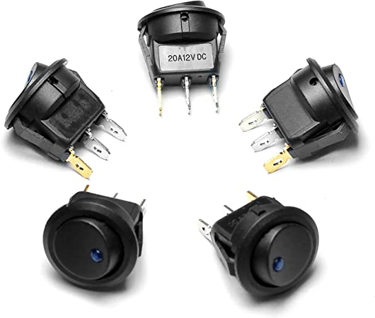 Ytian 5 Stück Dc 20a 12v On Off Rund Wippschalter Blau Elektronik