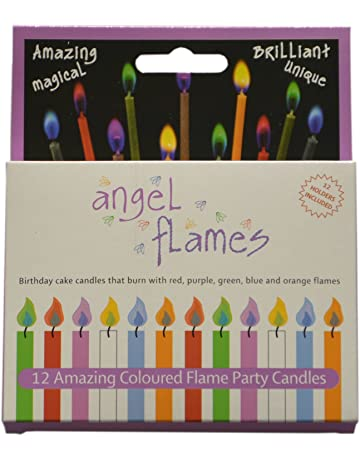 Grillkid Angel Flames Birthday Cake Candles With Colored 12pcs Per Box Holders Included