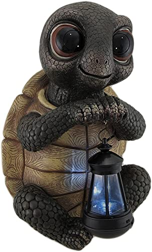 Zeckos Twilight Turtle Garden Statue and Solar LED Lantern
