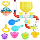 FUN LITTLE TOYS 12 PCs Bath Toys for Toddler, Flower Water Station, Bath Squirters, Stacking Cups, Rotating Spray Water Toy, Birthday Gifts for Kids