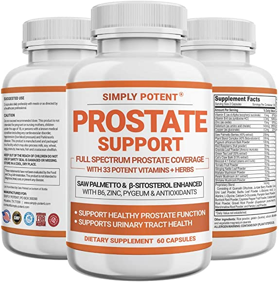 Prostate Support Supplement for Men, Prostate Health Capsules w Saw Palmetto Beta-Sitosterol Zinc Pygeum Antioxidants, 33 Herbs to Ease Frequent Urination, Hair Loss, DHT Support Libido Sleep