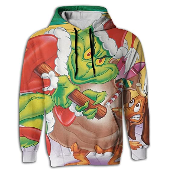 locpm licopc long sleeve how the grinch stole christmas full 3d sublimation handsome adult hoodie sweater - How The Grinch Stole Christmas Sweater