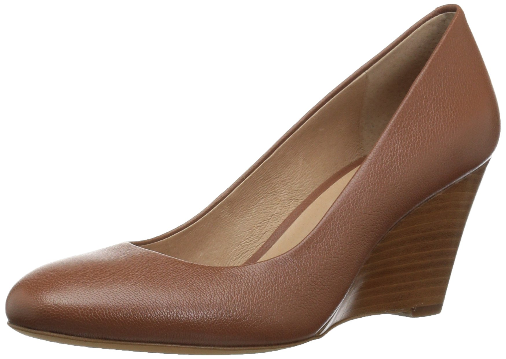 206 Collective Women's Battelle Closed-Toe Covered Wedge Pump, Cognac Leather, 9 C/D US