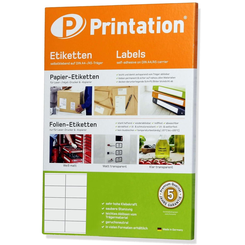 1500 Universal Etiketten DIN A4 selbstklebend 70 x 50 mm weiß Klebeetikett