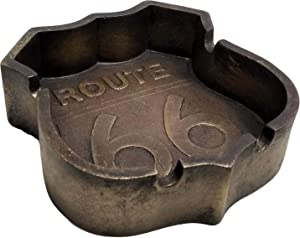 DWK - Smokes for The Road - Collectible Classic Route 66 Highway Decorative Ash Tray Smoking Accessory Mechanic Garage Den Home Décor Accent, Antique Bronze Finish, 4.5-inch