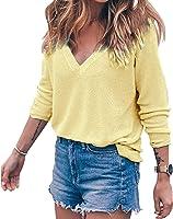 BLINGLAND Womens Loose V-Neck Pullover T Shirt Knit Tops