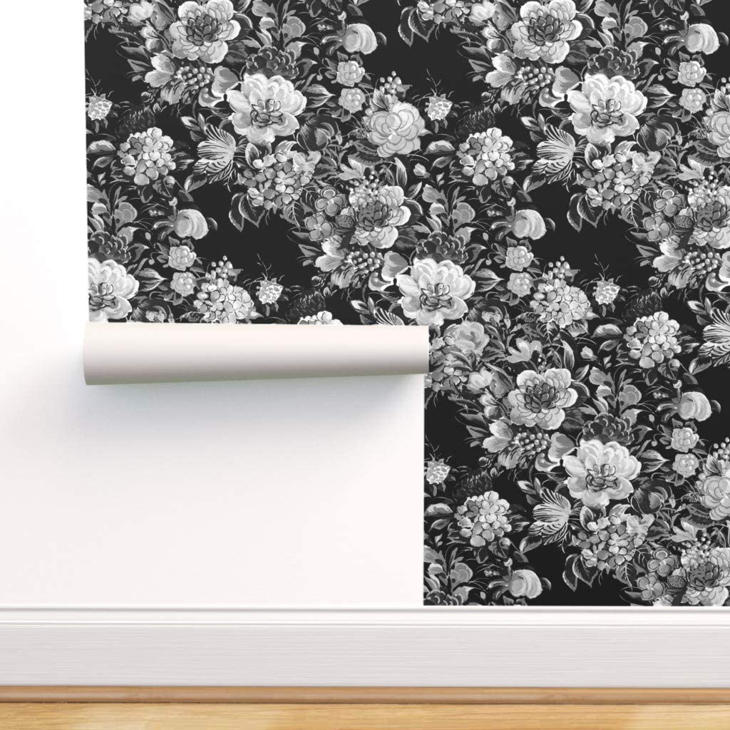 Spoonflower Peel And Stick Removable Wallpaper Midnight Floral