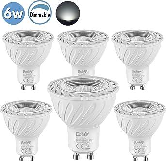 Eofiti 6W GU10 Regulable, Bombillas GU10 LED Blanco Frío 6000K Equivalente a 50W Halógena 600LM Spot