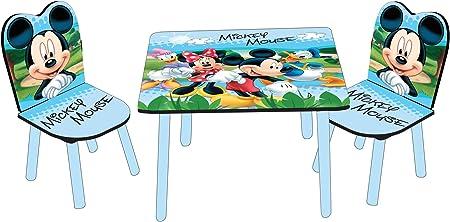 Disney Designs - Juego de Mesa y 2 sillas para niños (Madera MDF, 60 x 60 x 42 cm), diseño de Mickey y Minnie, Color Azul: Amazon.es: Hogar