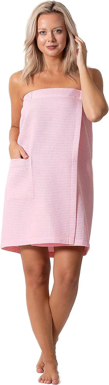 Women Spa//Bath Wrap with Pocket Light Adjustable Closure Soft Quick Dry