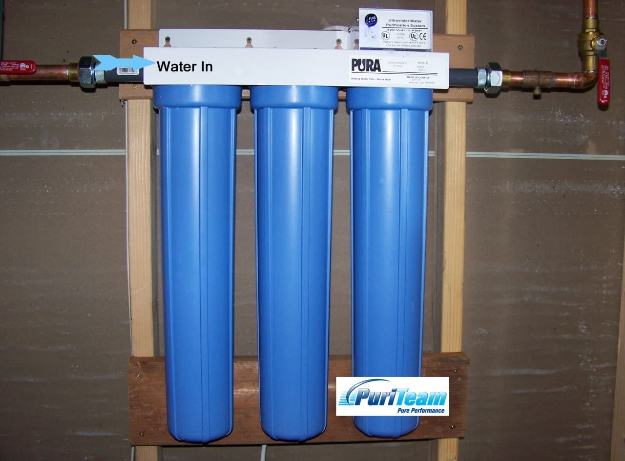 Pura Triple Housing Whole-House System with Sediment Filtration, 8 GPM
