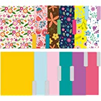 Colored File Folders - 12 Pack Stationary Decorative File Folders in Bright Colors & Flora Designs - Letter Size File…