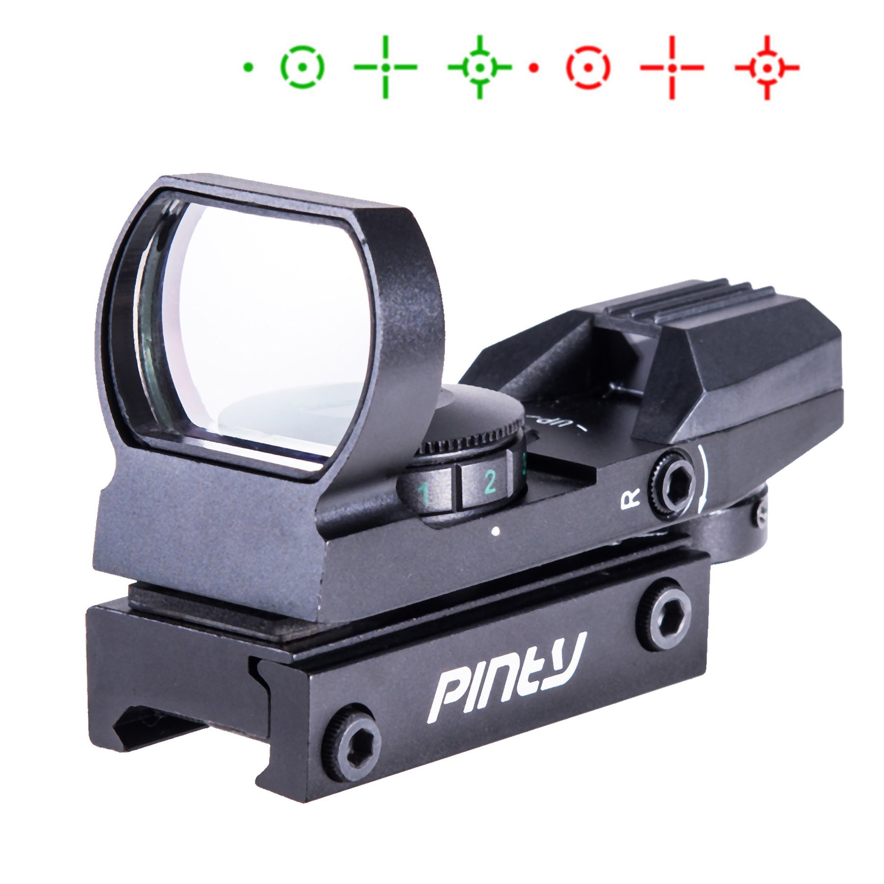 Pinty Red Green Dot Sight Reflex Holographic Tactical Riflescope 4 Reticle Patterns with 20mm Free Mount Rails by Pinty