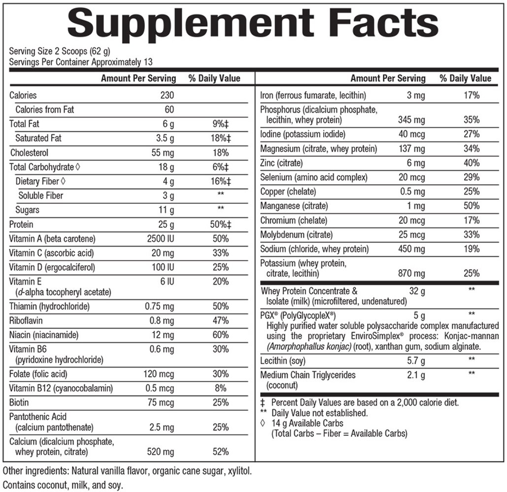Natural Factors - SlimStyles with PGX, High-Protein + Low-Carb, Low Glycemic Shake, French Vanilla, 12 Servings (28 oz)