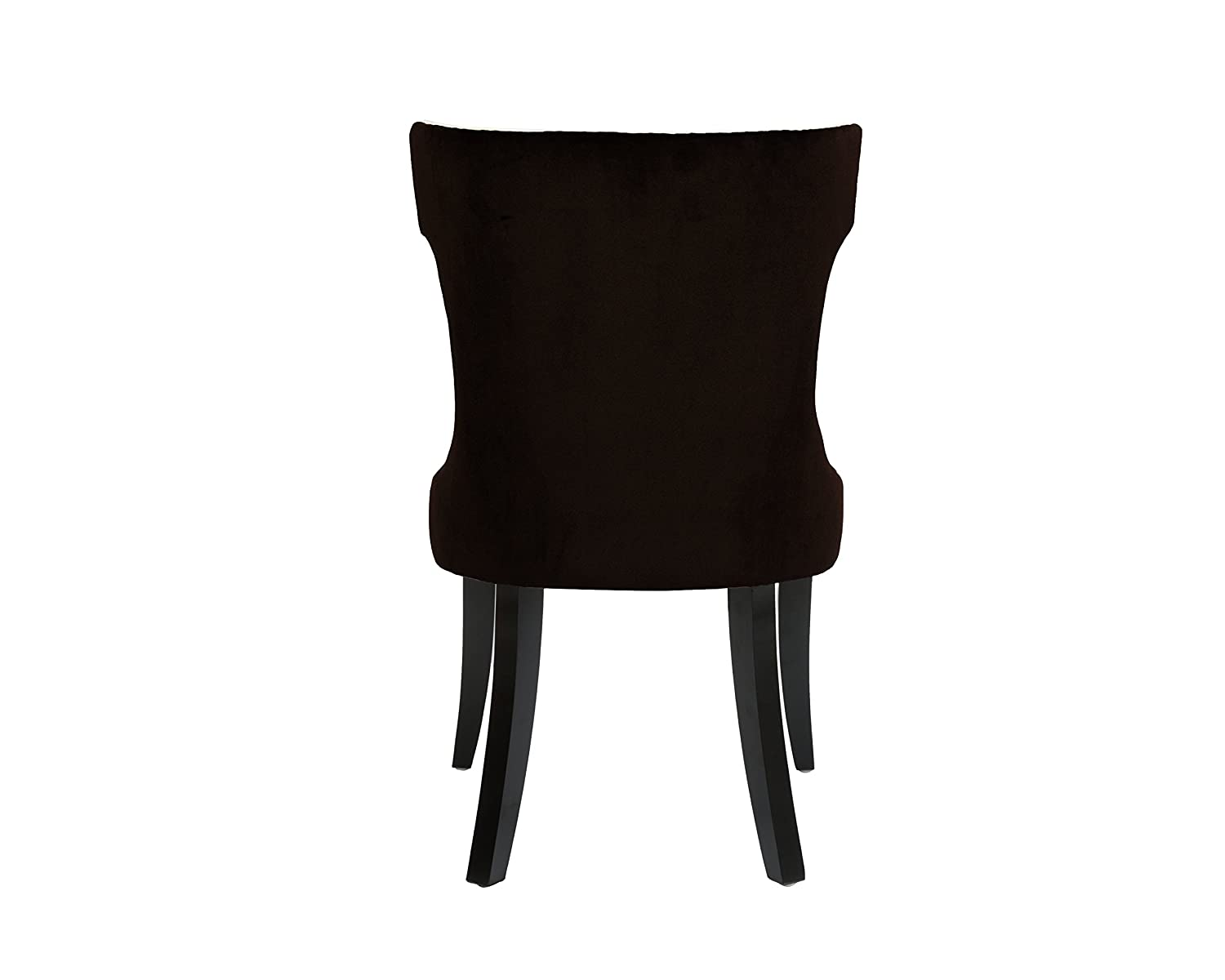 2pc Set FDC2718-AN Brown//Light Beige Iconic Home Conrad Dining Side Chair Velvet PU Leather Espresso Wood Frame Modern Transitional