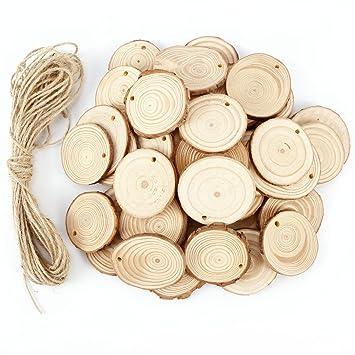 50 X Holzscheiben Baumscheiben Anhangeetiketten Holz Anhanger