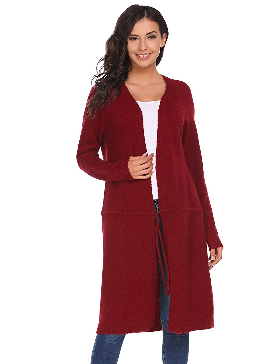 69048d7b29 Zeagoo Women Solid Lightweight Knitted Sweater Open Front Long Trench Coat  Cardigan at Amazon Women s Clothing store