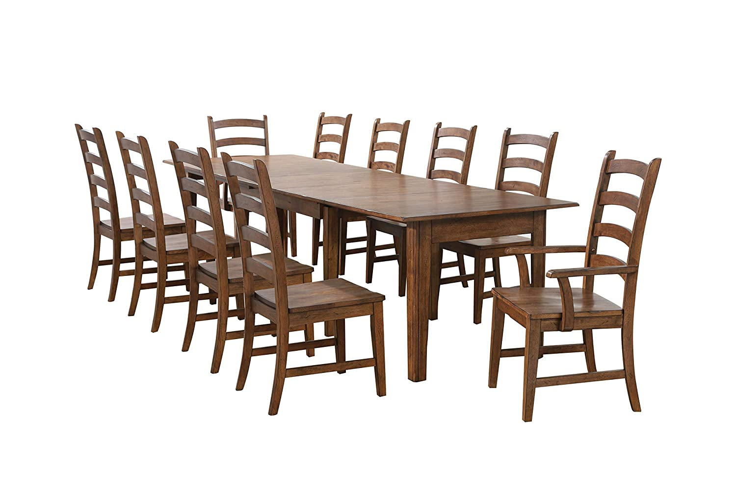 Sunset Trading Simply Brook Dining Table Set, Expandable Four Size, Amish Brown