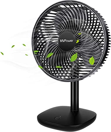 Mini USB Table Desk Personal Fan Electric Portable Desktop Table Fan 2 Speeds USB Rechargeable for Home Office Outdoor Travel Metal Design Quiet Operation USB Cable Fan