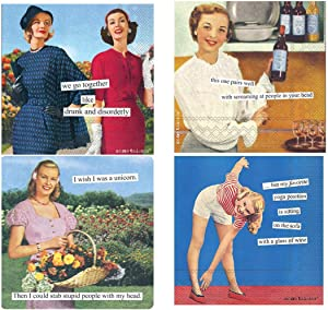 Women Cocktail Napkins Funny Anne Taintor Variety Pack 80 total napkins (Snarky Set 2)