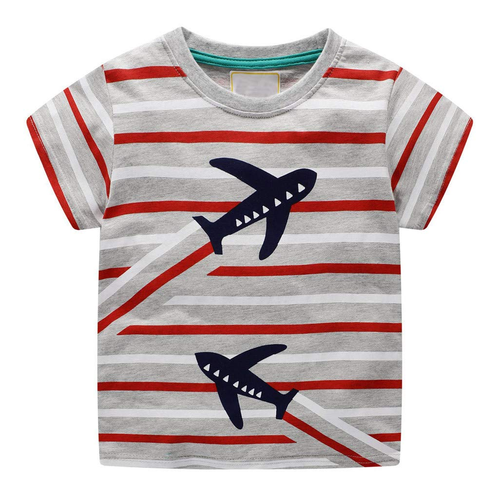 Lavany Little Baby Boys Cotton Clothes Short Sleeve Dino Print Tops Blouse for 1-7 T Red