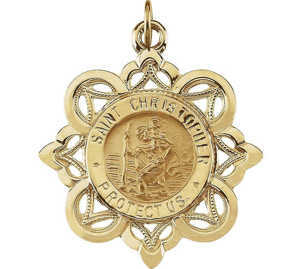 14 K黄色ゴールドセントクリストファーメダル(28.5 X 26 mm B07DCLGKZB