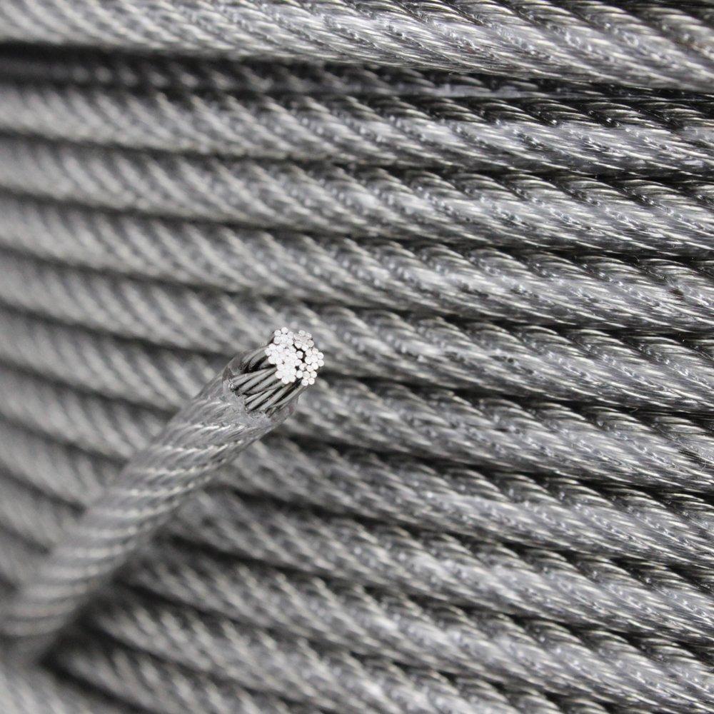 10 Meter Edelstahl PVC ummantelt Edelstahl A4 Stahlseil Drahtseil 7x7 D= 2 mm mittelweich transparent
