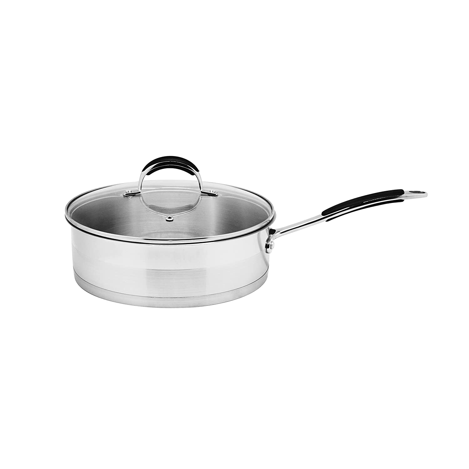 Stainless Steel 3.5-Quart Saute Pan with Glass Lid Silver Metal