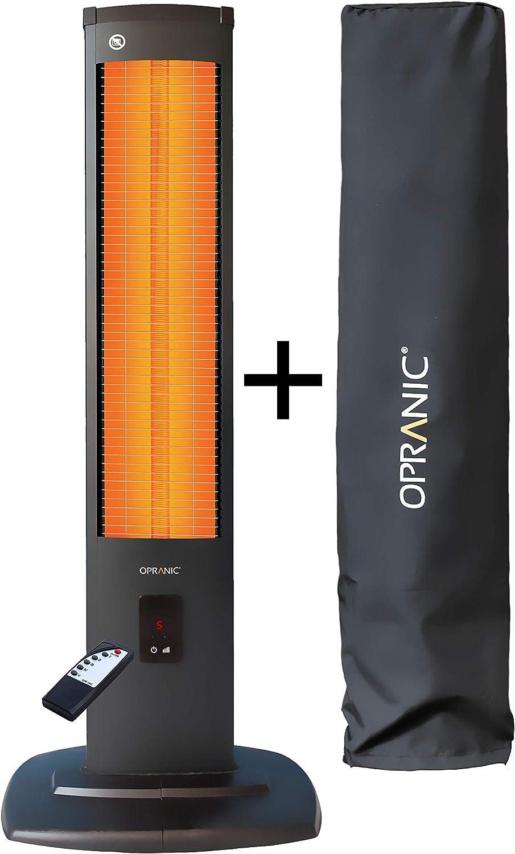 OPRANIC Thor Calefactor eléctrico de Infrarrojos Vertical con Cubierta, 2000 vatios, Mando a Distancia 5 potencias, A Prueba de Salpicaduras IP34, Negro Perla, Estufa infrarrojo Exterior bajo Consumo