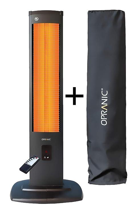 OPRANIC THOR Calefactor eléctrico de infrarrojos vertical con cubierta, 2000 vatios, Mando a distancia 5 potencias, A prueba de salpicaduras IP34, ...