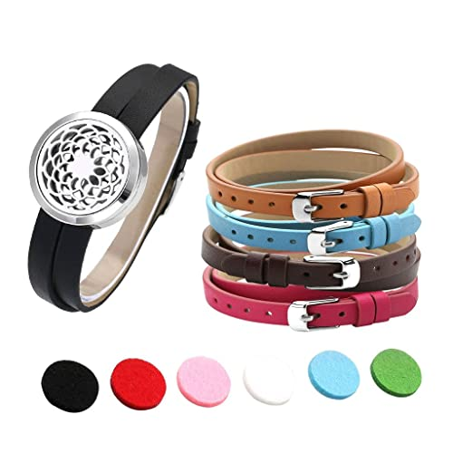 Sporting 30mm Essential Oil Diffuser Locket Black Single Circle Leather Wrap Bracelet Aromatherapy