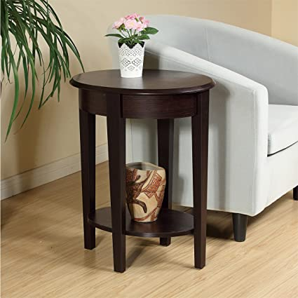 da6629e21e HomeConcept 14x20x24 Oval Chairside End Table with Red Cocoa Woodgrain  Finish - Set your lamp, newspaper, or favorite books out on this table in  your living ...