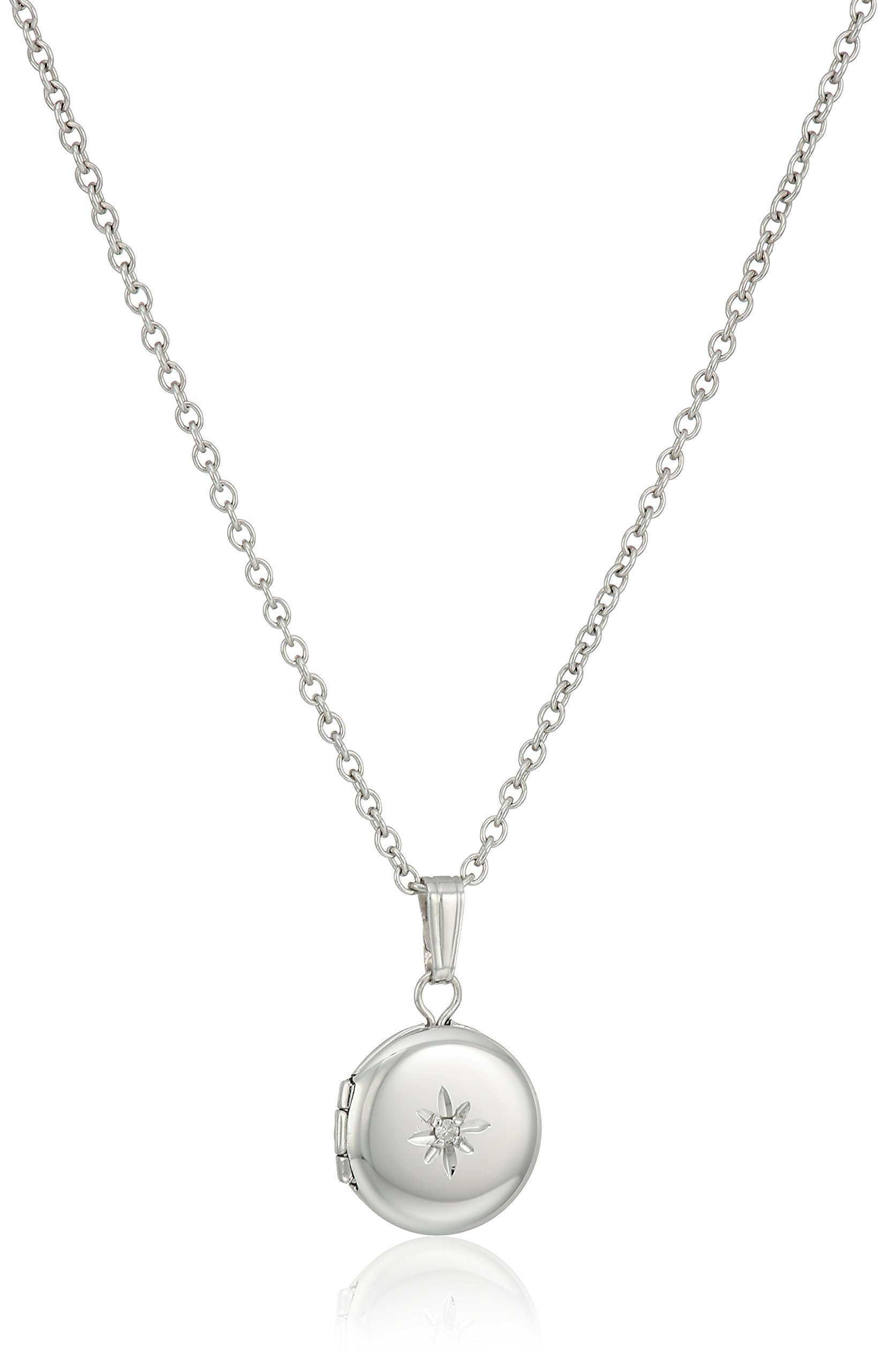 Children's and Baby Sterling Silver Diamond Round Locket Necklace, 13''
