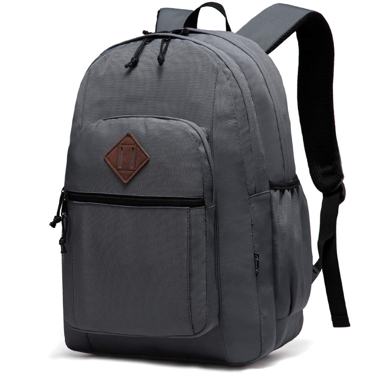 School Backpack for Men, Chasechic Water-Resistant Classic Lightweight Dual Compartments College Bookbag Unisex Travel Rucksack Gray by Chase Chic