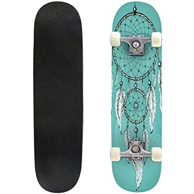 Classic Concave Skateboard Hand Drawn Dream Catcher with Ornamental Feathers on Grunge Green Longboard Maple Deck Extreme Sports and Outdoors Double Kick Trick for Beginners and Professionals : Sports & Outdoors