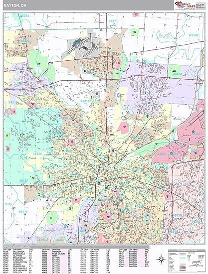 Amazon.com: Dayton, OH City Wall Map (Premium Style, Laminated ... on