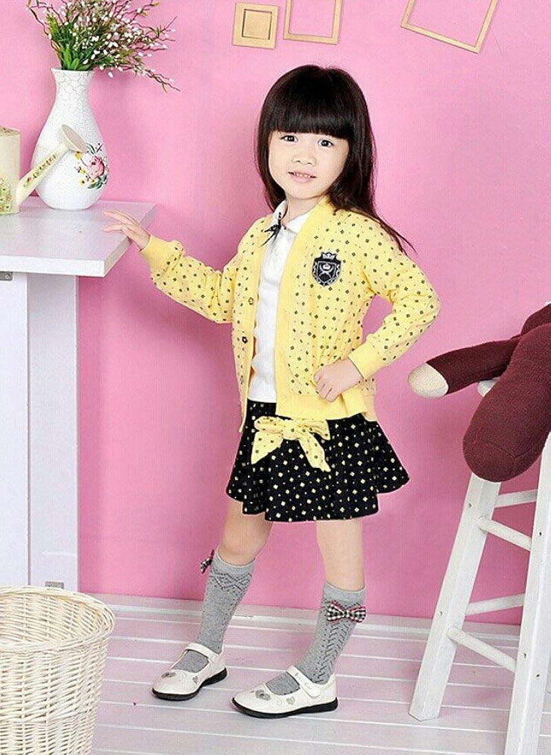 Yellow 2t 5t SOPO Toddler Girl 3 Piece Set Campus Jacket, Shirt, Skirt