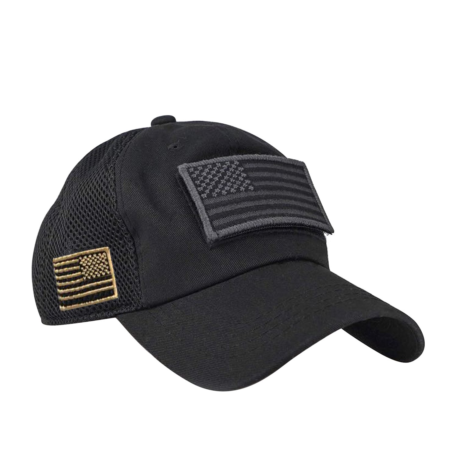 2cfe461aa Micro MeshTactical Operator Forces USA Flag Patch Baseball Cap (Black)