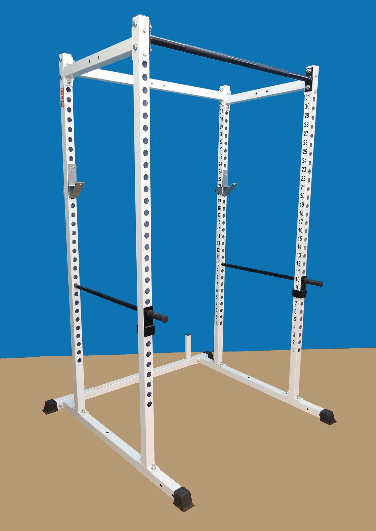 Power rack 1000lb Rated. 2 Inch 11 Gauge Sq. Tube with 1 inch holes. 2 inch hole centers for fine adjustment with bold letters. Designed to add variety of attachments. 1000lb rated J Hooks